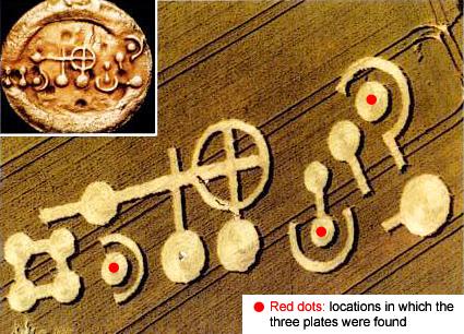 GRASDORF CROP CIRCLE E IL MISTERO DELLE PLACCHE DI METALLO 21 luglio 1991 foto 3 comparazione placche cerchio