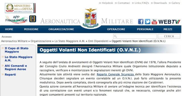 ITALIA 4 CASI UFO NEL 2016 REGISTRATI DALL'AERONAUTICA