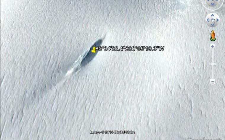 POLO SUD UFO CRASH SCOPERTO CON GOOGLE MAPS