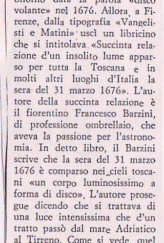UFO NEL PASSATO TOSCANA 31 MARZO 1676