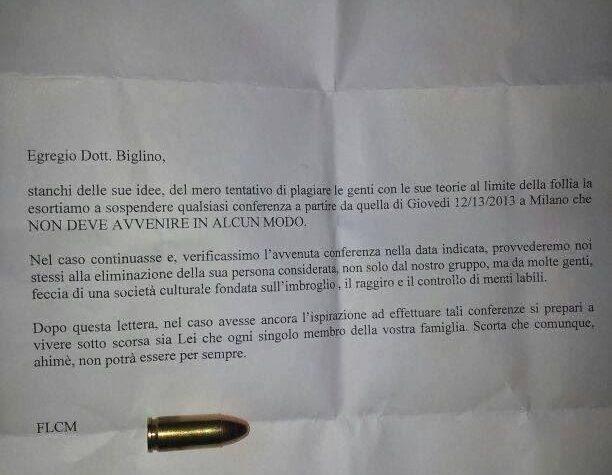 LETTERA MINATORIA INVIATA ALLO SCRITTORE MAURO BIGLINO